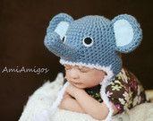 Crochet Cute Elephant Hat (Newborn)
