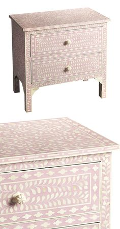 Pretty in pink. Add a pleasant burst of springtime charm to any room with this Valencia Bone Inlay Accent Chest. Bathed in a gorgeous antiqued pink finish, this lovely two-drawer accent is covered in a...  Find the Valencia Bone Inlay Accent Chest in Pink, as seen in the Bohemian Summer Solstice Collection at http://dotandbo.com/collections/bohemian-summer-solstice?utm_source=pinterest&utm_medium=organic&db_sku=123251