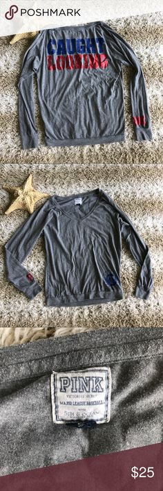 Pink Victoria's Secret MLB Texas Rangers Tee Armpit to armpit: 20 in  Top of shoulder to bottom hem: 16 in  Smoke free home  Minor wash wear PINK Victoria's Secret Tops Tees - Long Sleeve