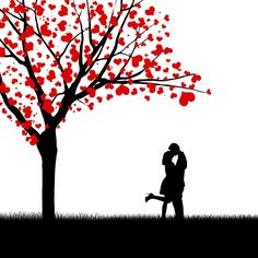Silhouette of kissing couple beside love tree Romantic Drawing, Silhouette Art, We Fall In Love, Love Images, Romantic Couples, Romantic Ideas, Cute Love, Art Drawings, Illustrations