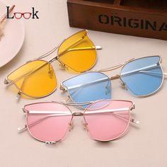 2017 NEW Brand Designer Women Sunglasses Luxury Metal Frame Color Transparent Lens Sun Glasses Vintage Shades Gafas De Sol