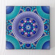 RESERVED for GINA Original Mandala Painting on Canvas, Painting, Office and home ornament Henna art Gift Dotilism Dotart, Blue mandala