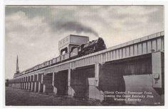Illinois Central Railroad Train Great Kentucky Dam KY Postcard | eBay