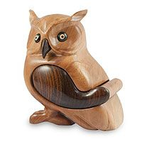 Mahogany puzzle box, 'Guatemalan Owl'  Proud and wise, an owl takes shape as a sculpture by Salvador Petzey. He carves the bird from mahogany wood in such a way that the wing becomes a hidden drawer. The beak, wing and eyes are dark ebony wood.