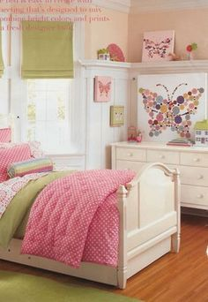 Love the wall treatment with the shelf, plus the butterflies for Savannah's room.....is that vinyl on the wall?