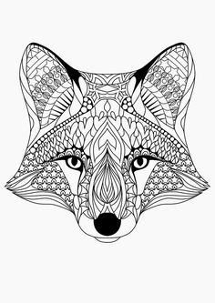 free adult coloring page - fox