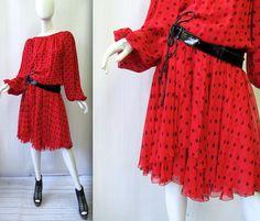 1980's Galanos Polka Dot Gypsy Dress | 2-Piece Dress and Belt Set | Medium