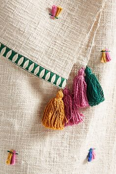 Shop Anthropologie for your bedroom today. Embroidery Art, Cross Stitch Embroidery, Embroidery Patterns, Tapetes Diy, Scarf Design, Sewing Projects, Weaving, Quilts, Pillows
