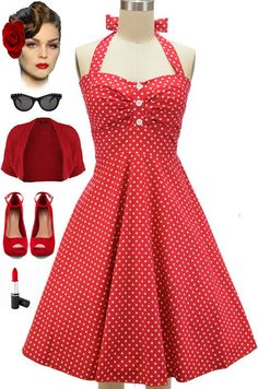 """New in store at Le Bomb Shop... Our """"Ellie May Ruched Bust Sweetheart Pinup Sun Dress"""" in Red Polka Dots! Perfect for spring and summer! Only $38 with FREE U.S. s/h! Buy it here: http://lebombshop.net/search?type=product&q=ellie+may&search-button.x=0&search-button.y=0"""