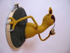 felt embroidery hoop sculpture by melissastanley727   this cracked me up... how creative ~!~