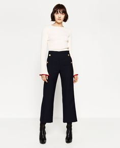 GOLD-TONED BUTTON TROUSERS