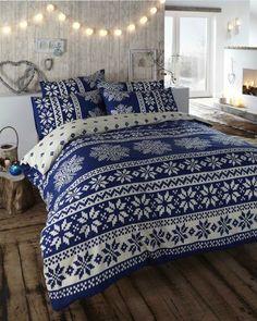 KING SIZE - DUVET QUILT COVER BED SET - BLUE ALPINE DESIGN