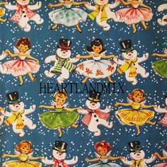 Vintage Christmas Gift Wrapping Paper - A Snowy Dance with Sweet Angels and Dapper Frosty - Blue Christmas - 1 Unused Full Sheet Gift Wrap Christmas Past, Blue Christmas, Retro Christmas, Christmas Images, Vintage Holiday, Vintage Gifts, Vintage Cards, Vintage Paper, Christmas Holidays