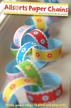 Printable Paper Chains - what a cute gift/craft for a little girl or even to stick in the mail to my nieces for a happy surprise.