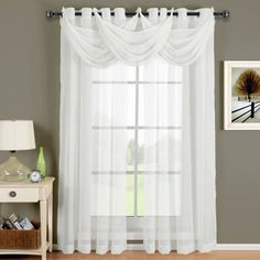 sheer white curtains privacy with trio swag #windowtreatments #curtains