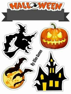 Bolo Halloween, Moldes Halloween, Art Halloween, Halloween Scrapbook, Halloween Stickers, Disney Halloween, Halloween Party Decor, Halloween Treats, Happy Halloween