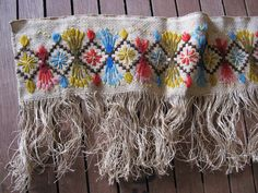 1900s Needlepoint Crewel Embroidery Trim with Fringe