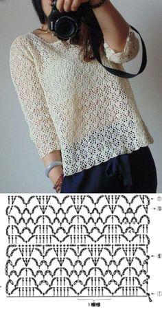 T-shirt Au Crochet, Beau Crochet, Pull Crochet, Mode Crochet, Crochet Cardigan Pattern, Crochet Shirt, Crochet Diagram, Crochet Stitches Patterns, Crochet Woman