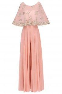 Pink Floral Handwork Cape with Flared Pants #asthanarang #shopnow #ppus #happyshopping