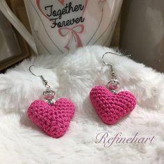 Pink Hearts Crochet Earrings