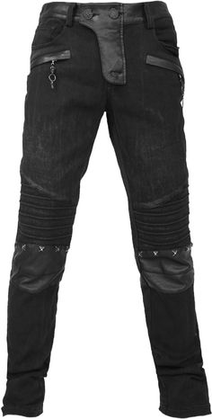 Men's pants with twill and pleather accents