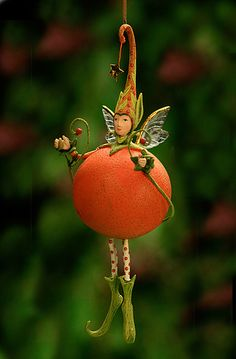 Tangerine at the Toe - Krinkles Fruit and Vegetable Ornaments by Patience Brewster at Fiddlesticks