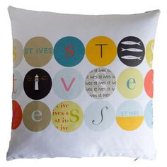 Cushion collection. Classic design from Earthworks. High quality cotton cushion with concealed zip opening and duck feather pad. Made in UK. Design DOTS St Ives Cushion St Ives cushion cover Coastal cushion Designer cushion Art cushion