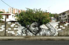 Humoristische street art die inspeelt op de natuur