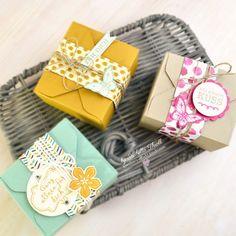 """three little boxes made with the envelope punch board  I used the new In-Colors """"Delightful Dijon"""" and """"Mint Macaron"""". Love the combination of both colors ---------------------------------------- drei süße Boxen, gemacht mit dem Envelope Punch Board  außerdem habe ich unter anderem zwei der neuen In-Colors verwendet: """"Minzmakrone"""" und """"Ockerbraun"""". Die beiden Farben sehen in Kombination miteinander wahnsinnig hübsch aus❤ #madewithlove #madewithstampinup #stampinup #stamping…"""