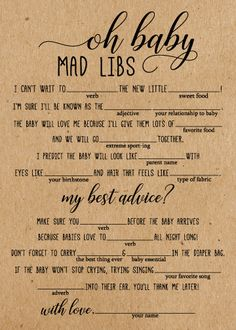 Baby Shower Mad Libs These rustic Oh Baby Mad Libs Baby Shower Game Cards are a fun baby shower game to add to your next Baby Shower Mad Libs, Baby Shower Games Unique, Virtual Baby Shower, Baby Shower Bingo, Girl Shower, Baby Shower Themes, Shower Ideas, Simple Baby Shower, Baby Shower Activities