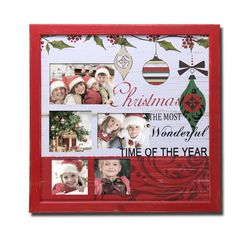 Furnistar Decorative Painted Pine Old Fashioned Ornament Wall Hanging Collage Picture. This decorative holiday photo frame is a lovely way to celebrate the most important part of winter holiday festivities:Time spent with loved ones. Showcase your favorite people and holiday get-togethers with this unique white and red square plaque framed by red-painted pine. Five spaces of various size are scattered around a depiction of painted ornaments and the words Christmas is the most wonderful time…