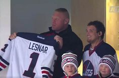Brock Lesnar's kids - sons Turk and Duke Brock Lesnar Family, Brock Lesnar Kids, Wwe Brock, Sports Celebrities, Cm Punk, Thing 1, Beautiful Wife, Height And Weight, Duke