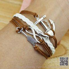 Anchors, arrows, infinity bracelet, leather braided rope bracelet wax rope bracelets, boyfriend and girlfriend gifts