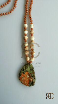 Colar comprido com cristais, mármore, ágata e prata - Rochas e Cristais
