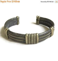 "❘❘❙❙❚❚ Spring Sale ❚❚❙❙❘❘   This is a wonderful Pewter and Snake Skin Cuff Bracelet #Vintage Ethnic Tribal!   The inside of this Bracelet measures 2 3/8"" across, with a 1 1/... #vintage #jewelry #fashion"