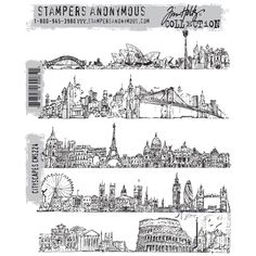 RESERVE Tim Holtz Cling Rubber Stamps 2015 CITYSCAPES CMS224