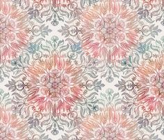 Autumn Spice Mandala in Coral, Cream and Rose fabric by micklyn on Spoonflower - custom fabric