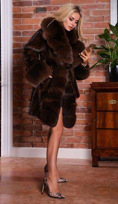 NEW BROWN SAGA MINK FUR COAT FOX CLASS RUSSIAN SABLE CHINCHILLA VEST LONG JACKET | eBay
