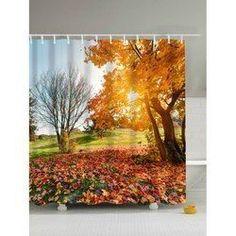 Fallen Leaves Print Waterproof Polyester Shower Curtain U213-205708101