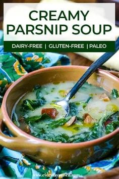 An easy parsnip soup made with Andouille Sausage and Collard Greens. This easy soup is dairy-free, paleo-friendly, and made with a few ingredients! Best Soup Recipes, Best Vegan Recipes, Real Food Recipes, Yummy Food, Ham Recipes, Chili Recipes, Yummy Recipes, Classic Soup Recipe, Pressure Cooker Soup Recipes