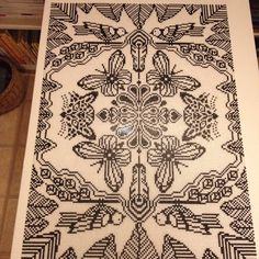 Black and white Hama perler art by Lisa Haulrik
