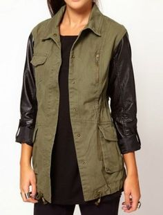 Green Contrast PU Leather Long Sleeve Drawstring Trench Coat  on shechic.com, Free shipping to worldwide
