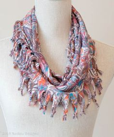 Pale Pastel Paisley Short Knotted Cowl Scarf
