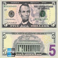 Five Dollar Bill Hidden Images Reveal Obama Martial Law 5 Dollar Bill, Dollar Money, 100 Dollar, Printable Play Money, Abraham Lincoln, Timor Oriental, Money Template, Bill Template, Templates