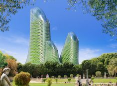 future green concept for Paris by Vincent Callebaut... the 'photosynthesis towers' involve the integration of green algae bioreactors