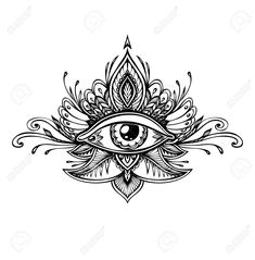 Illustration of Abstract symbol of the All-seeing Eye in the Boho of the Asian Ethnic style of the tattoo. Concept magic occultism esoterics vector art, clipart and stock vectors. Boho Tattoos, Black Tattoos, Body Art Tattoos, Tattoo Drawings, Small Tattoos, Indian Tattoos, Tatoos, Third Eye Tattoos, All Seeing Eye Tattoo