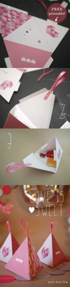 Valentine's day candy box tutorial. Free printable is here!⇒http://www.pinterest.com/partybeesowner/free-printablephoto-props/『DIY kiddie party idea 19 バレンタインキャンディバッグ♥』