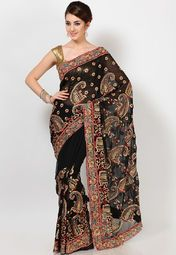 Look glamorous and elegant at the same time wearing this black saree from Diva Fashion with high heels. Designed for style-conscious women, this saree features resham and sequin work in the shape of paisleys all over and a trendy border that is made from dupion fabric. Made from georgette, this saree has a wonderful fall and an amazing finish.