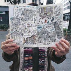 cuadernos-de-viaje-cuaderno-con-dibujos-del-viaje-de-Italia-con-memorias-de-los-lugares