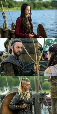 Princess Kwenthrith Played by Amy Bailey,  Athelstan Played by George Blagden, Porunn Played by Gaia Weiss
